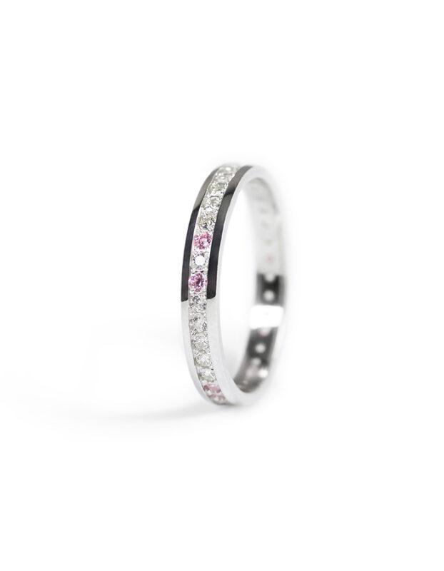 Prsten z bílého zlata s čirými a růžovými zirkony